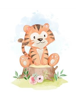 Милый тигр сидит на иллюстрации пень