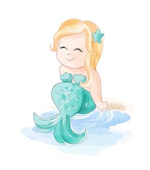 Милая русалочка, сидя на пляже иллюстрация