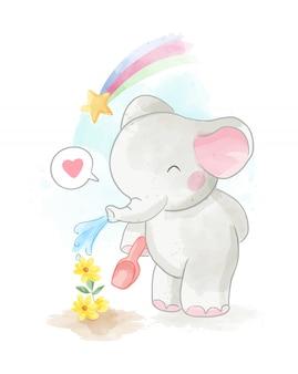 Симпатичные карикатуры слонов иллюстрация