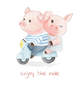 スクーターイラストに乗って恋人カップル豚