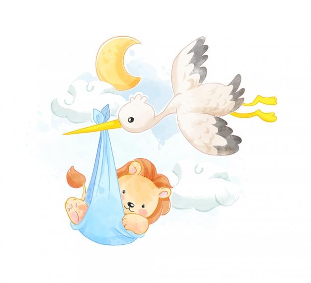 飛んでいる鳥のイラストで運ばれる小さなライオン