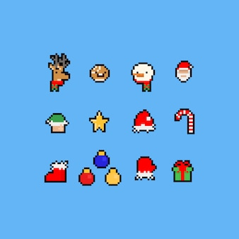 Пиксель арт мультфильм рождественский значок набор.