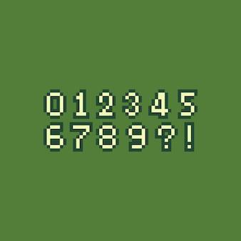 ピクセルアートのレトロな番号セット。