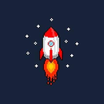 ピクセルアート漫画飛行ロケット。
