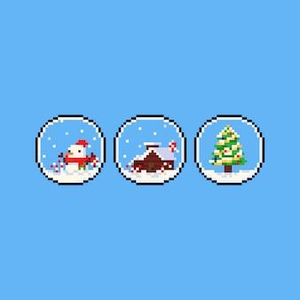 Пиксель арт рождественский глобус значок.