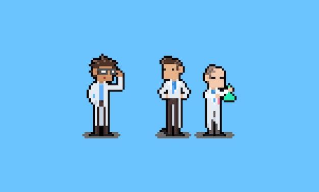 Пиксель арт мультфильм ученый набор символов.