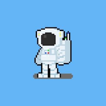 ピクセルアート漫画の宇宙飛行士のキャラクター。