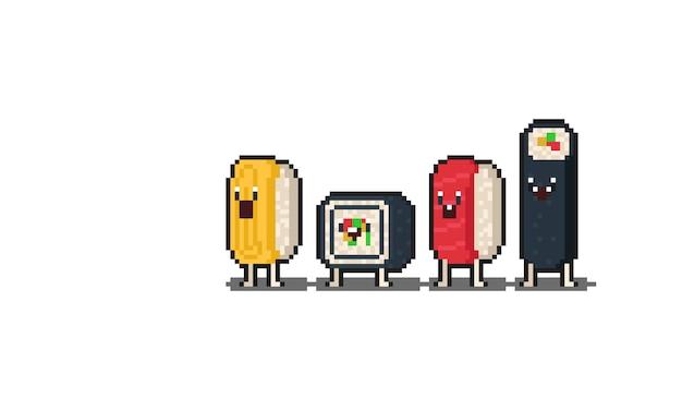 Пиксель арт мультфильм суши набор символов.
