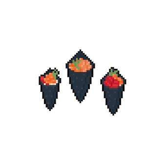 Пиксель арт темаки значок набор.