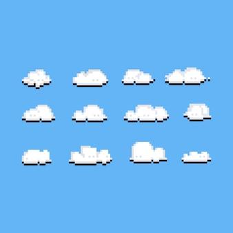 Пиксель арт облака значок набор.