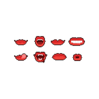 Пиксель арт мультфильм рот значок набор.
