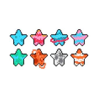 Пиксель арт мультфильм планета значок звезды набор.