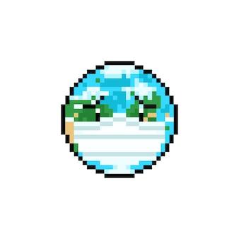 Пиксель арт мультфильм печально земля персонаж носить маску.