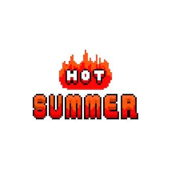 ピクセルアートテキストデザイン「暑い夏」と火の効果。