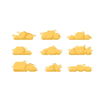 ピクセルアートゴールデン雲アイコンデザインセット。