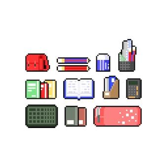 教育アイコンデザインセットのピクセルアート漫画セット。