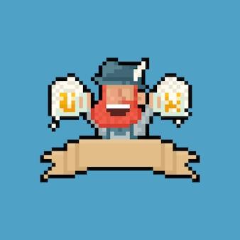 Пиксель арт мультфильм портрет борода мужчина держит кружку пива с лентой.