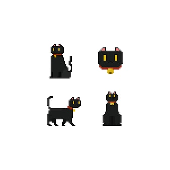 Пиксельный черный кот.