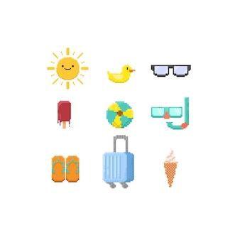 Пиксельные летние элементы