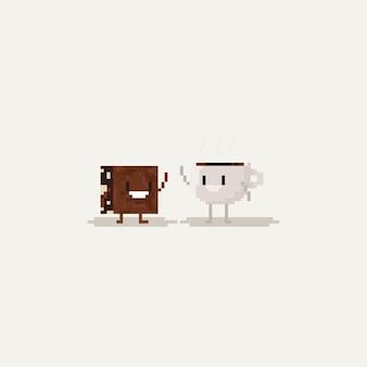 Пиксельный кофе и коричневый персонаж поднимают руки вверх