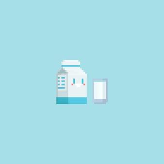 Пиксельная милая коробка для молока