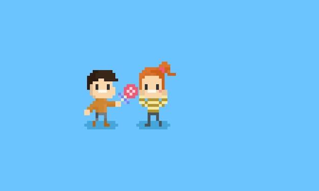 Пиксельный мальчик дает леденец девушке