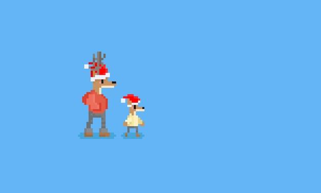 ピクセル雨鹿キャラクター
