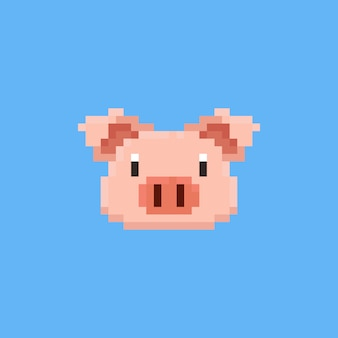 ピクセルの豚の頭