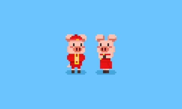 中国の衣装でピクセル豚キャラクター