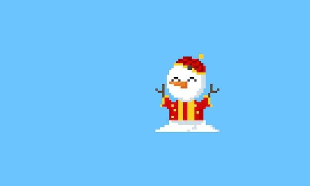 中国の衣装でピクセル雪だるま