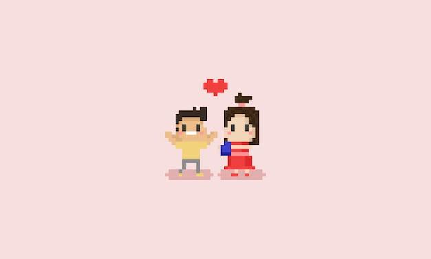 ピクセルかわいい女の子は男の子にチョコレートを与えます。バレンタイン・デー。