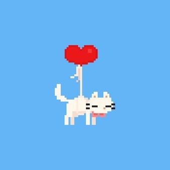 赤いハート形風船を持つピクセルフローティング白猫。バレンタイン・デー。