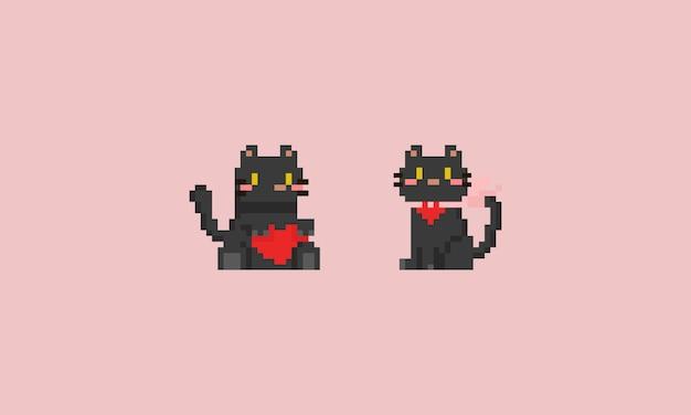 赤いハートとピクセルの黒い猫