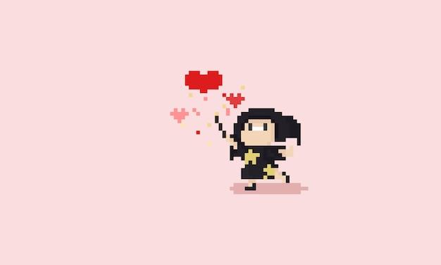 魔法の愛をしているピクセルの小さな魔女