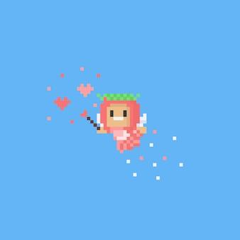 愛の魔法と小さな角度を飛んでいるピクセル
