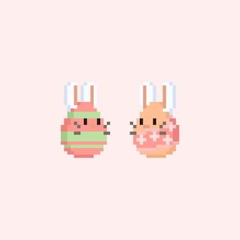 バニーの顔と耳を持つピクセルの卵