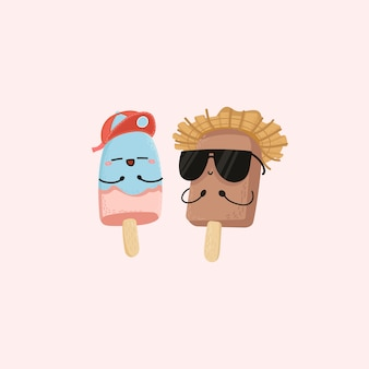 かわいいアイスクリーム夏のキャラクター。ハンドドロー