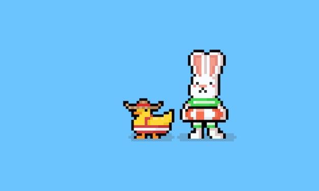 Пиксель арт мультяшный летний кролик с уткой