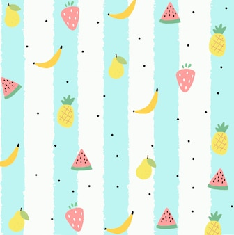 シームレスな手描きのフルーツパターン