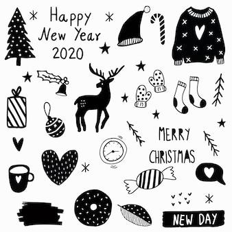 С новым годом каракули элементы