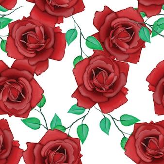 水彩画と美しいバラのパターン