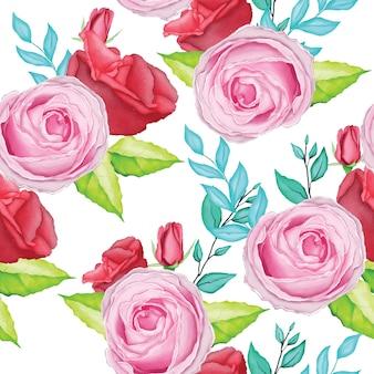 水彩画と美しいピンクのバラのパターン