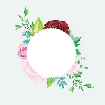 美しい水彩画の花のフレーム