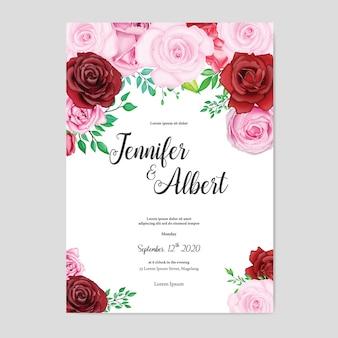 美しい水彩画の花の結婚式カードテンプレート