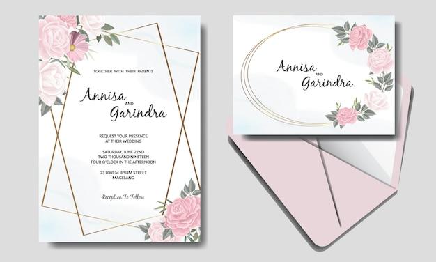 美しい花のフレームの結婚式の招待カードテンプレート