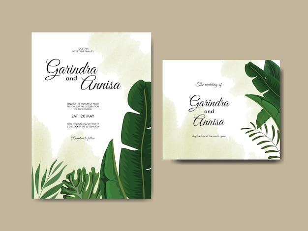 Элегантный шаблон свадебного приглашения с тропическими листьями
