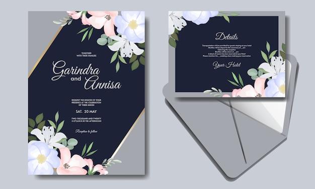 Элегантный свадебный шаблон приглашения с красочными цветками темно-синего премиум вектор