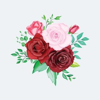 美しい水彩画の花の要素
