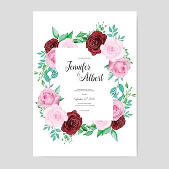 水彩画と美しい結婚式のカード