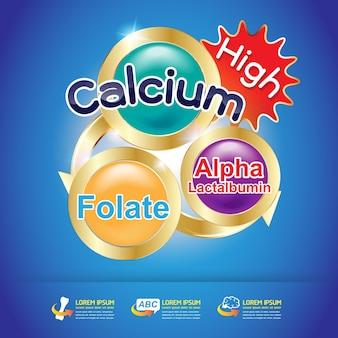 製品のためのカルシウムとビタミンのロゴ概念のベクトル。